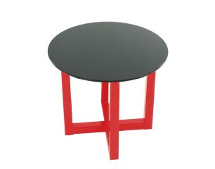 Cross Black on Red End Table