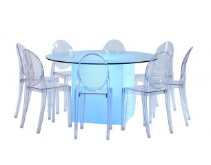 Round Clear Pedestal Table Lighted