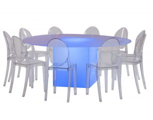 Round Frosted Table Lighted