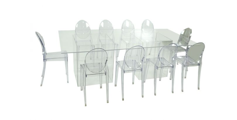 Royal Clear Table W/ Ghost Bases