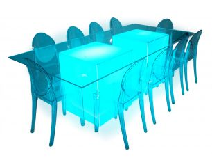 Royal Pedestal Table Clear Top Lighted